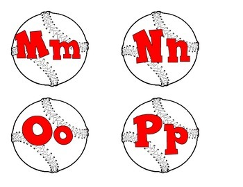 Baseballs with red alphabet-capital letters