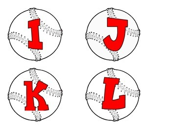 Baseballs with  red alphabet, numbers, punctuation, and basic math symbols