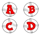 Baseballs with  red alphabet, numbers, punctuation, and ba