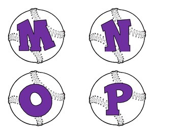 Baseballs with alphabet-purple letters