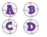 Baseballs with alphabet-purple letters