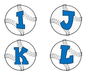 Baseballs with blue alphabet, numbers, and punctuation