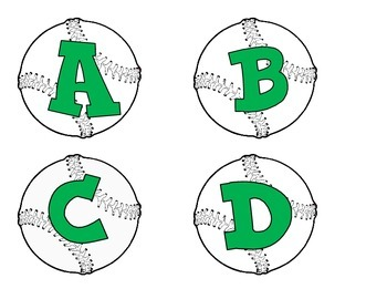 Baseballs with green  alphabet, numbers, punctuation, and basic math symbols