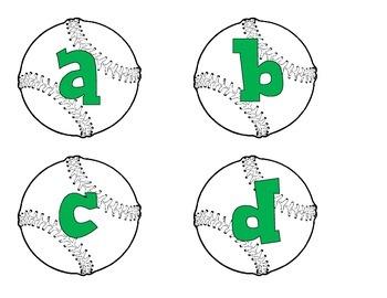 Baseballs with green  alphabet, numbers, punctuation, and basic math symbols