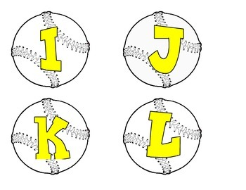 Baseballs with yellow alphabet, numbers, and punctuation