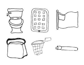 Basektball Hoop, iPad, Toilet (flush), Pen, Lunch Bag