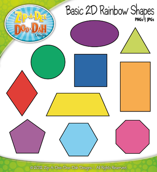2D Rainbow Shapes Clipart {Zip-A-Dee-Doo-Dah Designs}