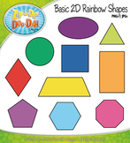 2D Rainbow Shapes Clip Art — Comes In Color and Black & White!