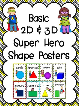 Basic 2D Shapes & 3D Figures Posters: Super Hero Kids Theme