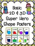 Basic 2D Shapes & 3D Figures Posters: Super Hero Kids Theme