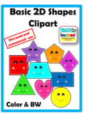 Basic 2D Shapes Clipart (for commercial use too)