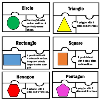Basic 2D Shapes Two Dimensional Math Puzzles Centers work station 1st 2nd Grade