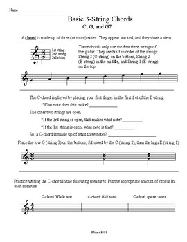 Basic 3-string Chord worksheet