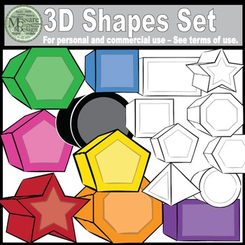 Basic 3D Shapes Super Clip Art Set {Messare Clips and Design}