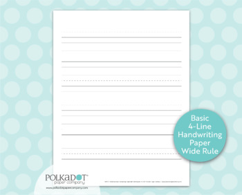 Basic 4-Line Handwriting Practice Paper Wide Rule with Bold Baseline