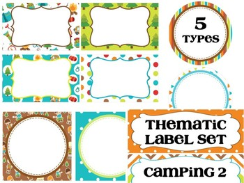 Basic 5 Editable Labels Set : Let's Go Camping Set 2, Woods, Nature