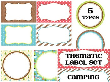 Basic 5 Editable Labels Set : Let's Go Camping, Woods, Nature