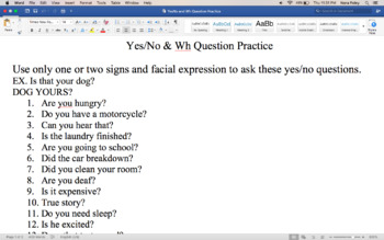 Basic ASL Practice Yes/No & Wh- Questions