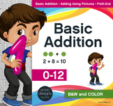 Basic Addition • Adding with Pictures • Worksheets • Fact Quizzes • Charts/Award