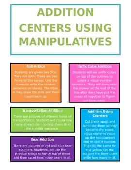 Basic Addition Centers Using Manipulatives