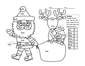 Basic Addition Fact Coloring Page - Christmas