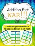 Basic Addition Fact Game - Card game of War