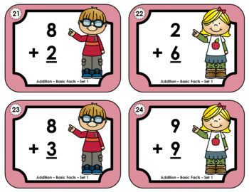 Basic Addition Facts Task Cards