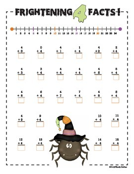 Basic Addition Facts with Number Line (Halloween Theme)