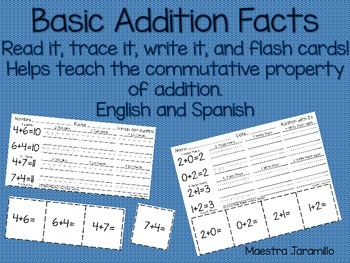 Basic Addition Facts Practice and Flash Cards (English and Spanish)