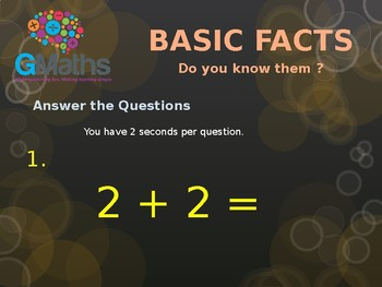 Basic Addition Facts Test