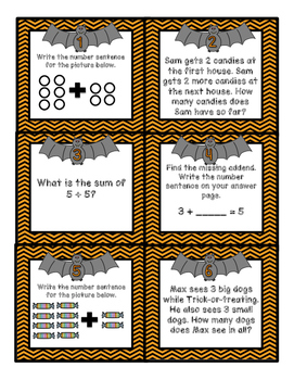Basic Addition Halloween Scoot (sums to 10)
