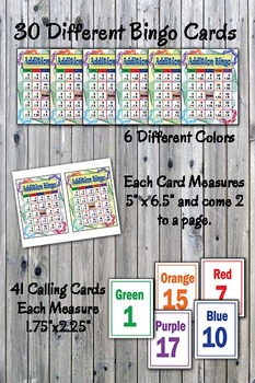 Math Bingo Game - Basic Addition Facts 1-12 - Printable - Up to 30 players