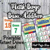 Math Bingo Game - Basic Addition Facts 1-12 - Printable - Up to 30 players
