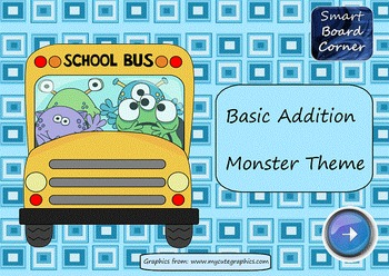 Basic Addition SMART Board Lesson Monster Theme