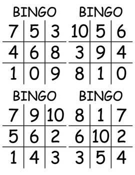 Basic Addition & Subtraction BINGO