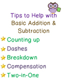 Basic Addition & Subtraction Tips Poster