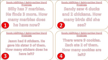 Basic Addition / Subtraction Word Problem Task Cards