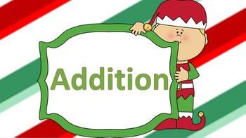 Basic Addition Task Cards Christmas Themed