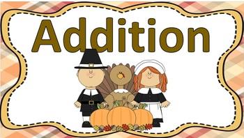 Basic Addition Task Cards Thanksgiving Theme