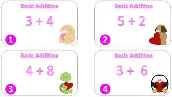 Basic Addition Task Cards {Valentine's Day Themed}