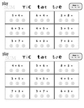 Basic Addition Tic Tac Toe Boards