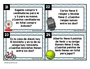 Basic Addition Word Problems in Spanish (Problemas de cuento sumas al 15)