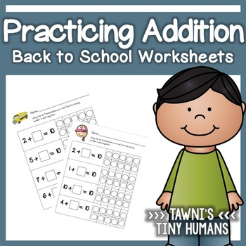 Basic Addition Worksheet Set - Back to School
