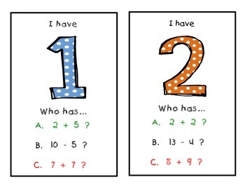 Basic Addition and Subtraction Facts 0-20 Zip Around Game