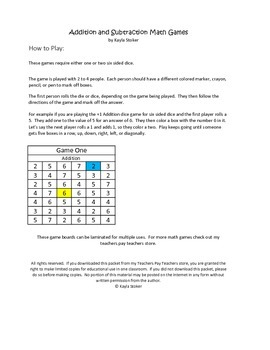 Basic Addition and Subtraction Games