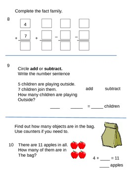 Basic Addition and Subtraction Pretest
