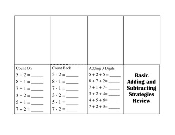 Basic Addition and Subtraction Strategies Review Itsy Bitsy Book