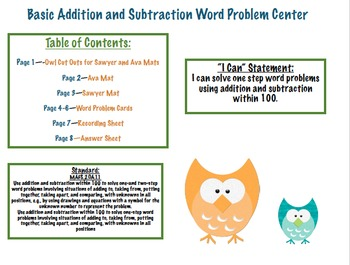 Basic Addition and Subtraction Word Problem Center