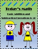 Basic Addition and Subtraction to 50 - Today's Math - Practice Worksheets