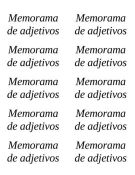 Basic Adjective Memory Game